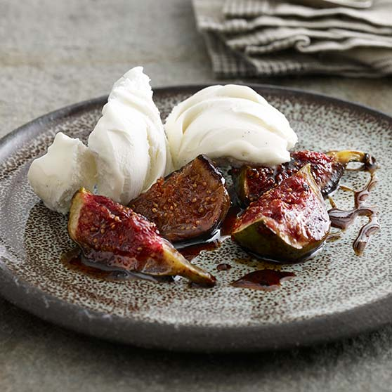 Warm figs with muscovado ice cream